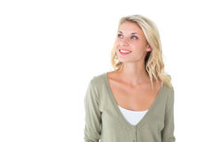 Pretty young blonde looking up Stock Images
