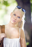 Pretty young blonde teenage girl outdoor Royalty Free Stock Photos