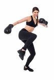 Pretty young boxer woman in action Royalty Free Stock Photography