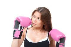 Pretty young boxing woman Royalty Free Stock Image