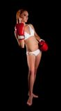 Pretty young boxing woman Royalty Free Stock Photo