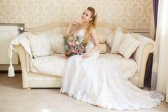 Pretty young Bride`s wedding morning Royalty Free Stock Photos