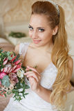 Pretty young Bride`s wedding morning Stock Image