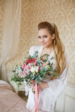 Pretty young Bride`s wedding morning Stock Photography