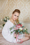 Pretty young Bride`s wedding morning Stock Photo