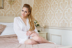 Pretty young Bride`s wedding morning Stock Images