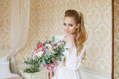 Pretty young Bride`s wedding morning Royalty Free Stock Images