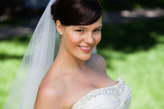 Pretty young bride smiling Stock Photography