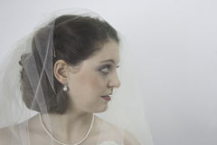 Pretty young bride wearing veil. Close-up of beautiful young bride wearing veil and off the shoulder wedding dress Stock Photo