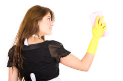 Pretty young brunette girl cleaning Stock Image