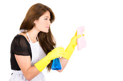 Pretty young brunette girl cleaning Royalty Free Stock Image