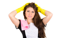 Pretty young brunette girl cleaning Stock Photography