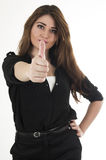 Pretty young brunette girl dressed in black posing Stock Photos