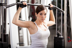 Pretty young brunette at the gym Royalty Free Stock Photo