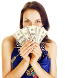 Pretty young brunette real modern woman with money cash isolated on white background happy smiling, lifestyle people. Concept close up Stock Photos