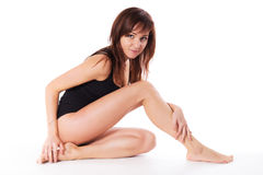 Pretty young brunette woman body skin isolated white Stock Image