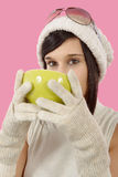 Pretty young brunette woman with a cup of tea Royalty Free Stock Photo
