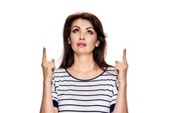 Brunette gesturing up Royalty Free Stock Photo