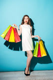 Pretty young brunette woman holding shopping bags. Royalty Free Stock Images