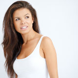 Pretty young brunette woman on white Stock Photography