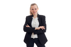Pretty young business woman in classic black uniform smiling on camera Stock Image