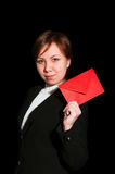 Pretty young business woman with envelope Royalty Free Stock Photo