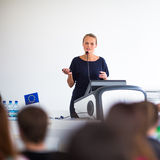 Pretty, young business woman giving a presentation Stock Photos
