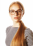 Pretty young business woman in glasses on white  Royalty Free Stock Photography