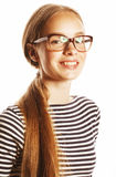 Pretty young business woman in glasses on white Stock Photos