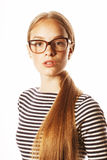 Pretty young business woman in glasses on white Stock Photo