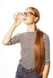 Pretty young business woman in glasses on white Stock Photography