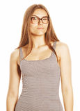Pretty young business woman in glasses on white isolated Stock Photo