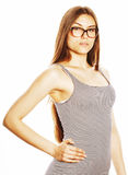 Pretty young business woman in glasses on white isolated Royalty Free Stock Photo