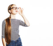 Pretty young business woman in glasses on white isolated Royalty Free Stock Photography