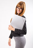 Pretty young business woman with phone Royalty Free Stock Image