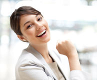 Pretty young business woman smiling Royalty Free Stock Photo