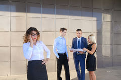 Pretty young business woman, student holds on head from fatigue,. Pretty young perspective business woman, student holds on head from fatigue, rests, took break Royalty Free Stock Photo