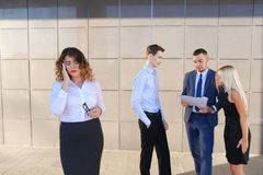 Pretty young business woman, student holds on head from fatigue, Royalty Free Stock Images