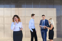 Pretty young business woman, student holds on head from fatigue,. Pretty young perspective business woman, student holds on head from fatigue, rests, took break Stock Photos