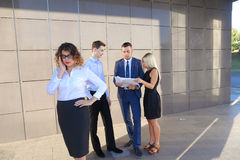 Pretty young business woman, student holds on head from fatigue,. Pretty young perspective business woman, student holds on head from fatigue, rests, took break Royalty Free Stock Images