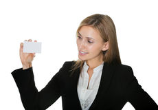 Pretty young businesswoman with a blank card Stock Image