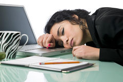 Pretty young businesswoman fallen asleep Royalty Free Stock Photo