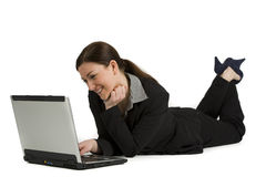 Pretty young businesswoman  with a laptop on white Royalty Free Stock Image