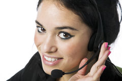 Pretty young call service representative Royalty Free Stock Photos