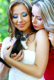 Pretty young caucasian girls with kitten Royalty Free Stock Photo