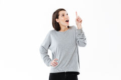 Pretty young caucasian lady have an idea Stock Image