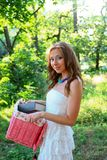 Pretty young caucasian woman in the park Stock Images
