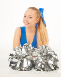 Pretty young cheerleader Stock Photos
