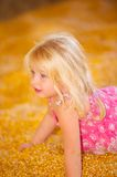 Child in Fall Harvest Corn. Pretty Young Child Playing in fall harvest Corn Pile Royalty Free Stock Image