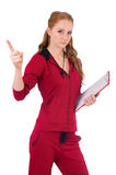 Pretty young coach with organiser isolated on Royalty Free Stock Photos